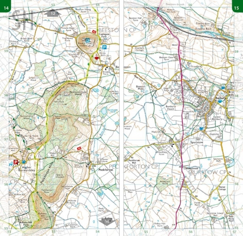 Walking Cheshire's Sandstone Trail - Ordnance Survey 1:25,000 map book - Beeston Castle area